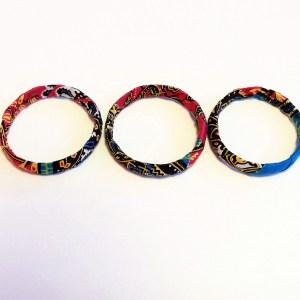 Pink, Blue & Yellow African Print Bracelet & Earrings Set