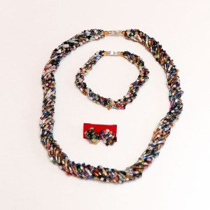 Multicolored 2 African Beaded Necklace Set
