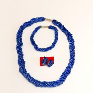 Dark Blue African Beaded Necklace Set