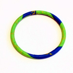Green & Blue Thin African Print Bracelet