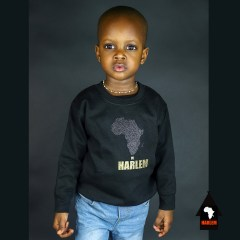 Unisex Africa in Harlem Crewneck Sweatshirt Black & Gold – Kids
