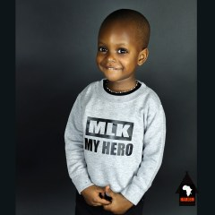Unisex MLK My Hero Crewneck Sweatshirt Grey & Black – Kids