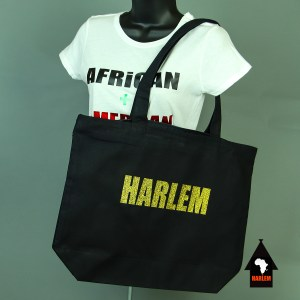 Harlem Tote bag Black & Glitter Gold with zipper