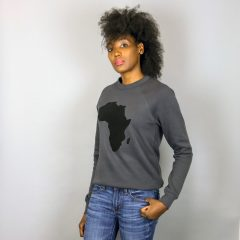 Unisex Africa Crewneck Sweatshirt Black & Dark Grey