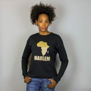Unisex Africa In Harlem Black & Glitter Gold Crewneck Sweatshirt