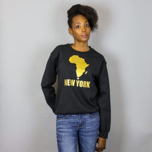 Unisex Africa in New York Crewneck Sweatshirt Gold