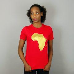 Africa short sleeve T-shirt Red & Gold – Women