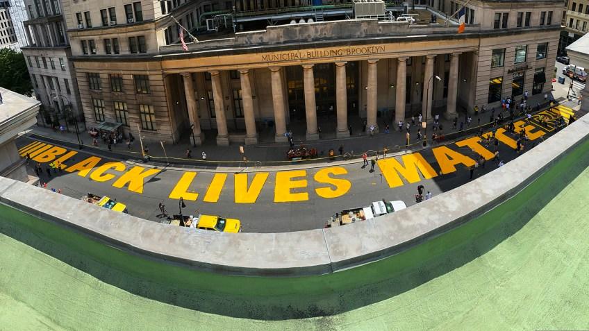 Brooklyn Borough President Eric Adams unveils second Black Lives Matter mural in New York City
