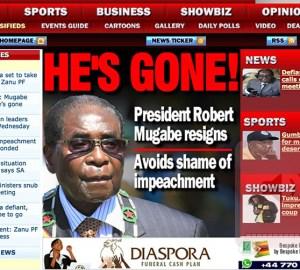 Copertina Herald dimissioni Mugabe