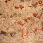 Bushmen (san) rock painting of human figures, antelopes and a pr - Rock Art