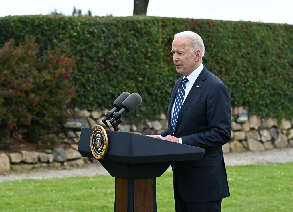 President Joe Biden delivers a speech at the G7 summit in Cornwall.