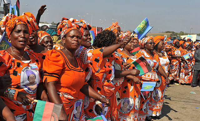 Supporters of former President Joyce Banda welcome visitors ahead of a summit in Malawi. Credit: GCIS.