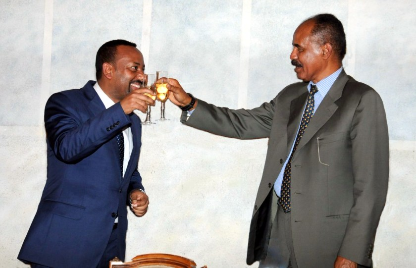 Ethiopia's PM Abiy Ahmed and Eritrea's President Isaias Afewerki at an official dinner in Asmara. Credit: Yemane Gebremeskel, Minister of Information, Eritrea.