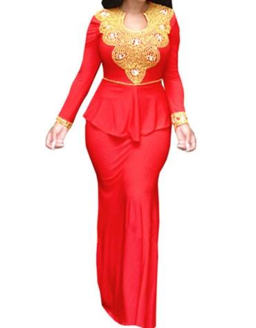 African Boutique Beaded Spandex Peplum Prom Dress