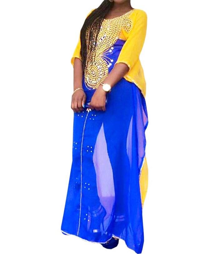 New Fashion Multi Color Chiffon Beaded Dress