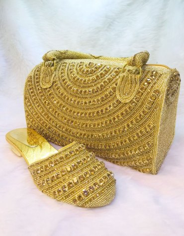 Gold Crystal Beaded Handbags with Heels for Bride