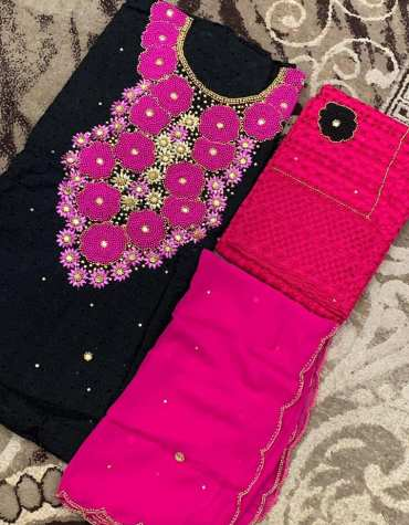 Latest African Designer Hollow Cotton Dry Lace Dress Fuchsia & Black (DCL-026)
