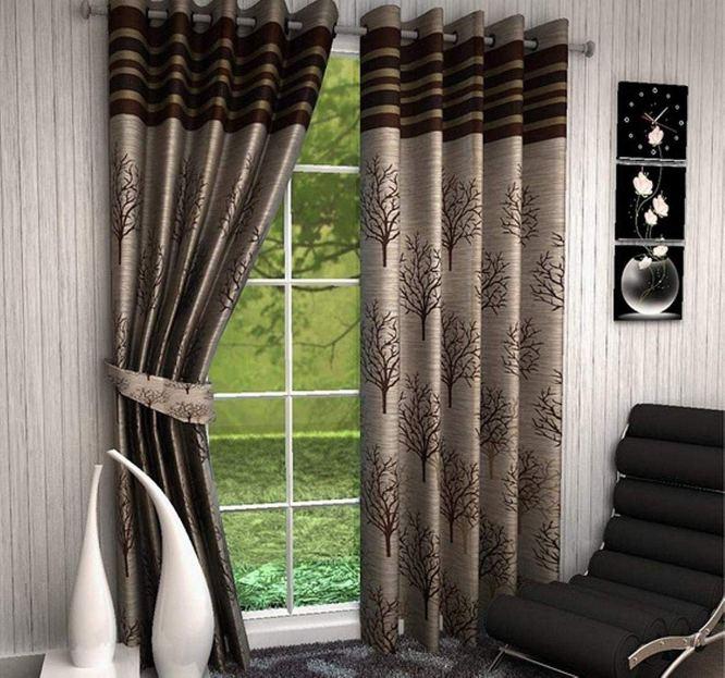Home Utsav 2 Piece Jute Blackout Heavy Curtains for Long Door 9 Feet, Brown