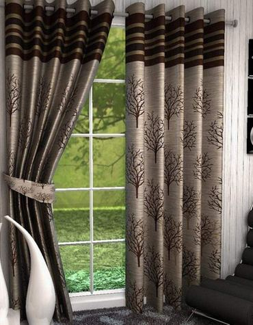 Home Utsav 2 Piece Jute Blackout Heavy Curtains for Long Door 9 Feet, Brown