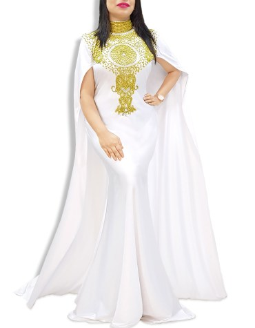 Robe Dubai Kaftan Beaded Moroccan Fancy Cape Sleeve White Abaya African Dresses