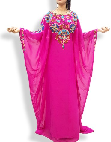 Embellished Wedding Moroccan Beaded Dress Plus Size Dubai Kaftan Abaya for Women