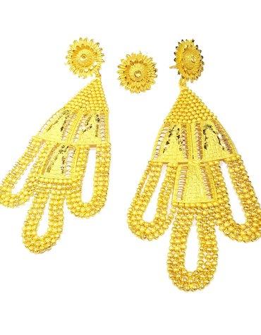 New Arrived 2Gram Gold Formal Party Wear Designer Earring Set