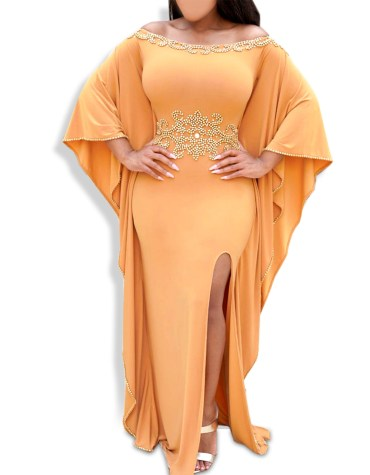 African Off Shoulder Moroccan Kaftan Maxi Abaya Party Formal Dresses For Women