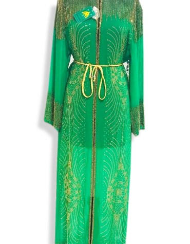 Long Sleeve Crystal Beaded Wedding Guest Formal Green Dubai Dresses for Women