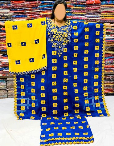 Women's African Attire Embroidery Swiss Voile Cotton Blue Lace Dress Material