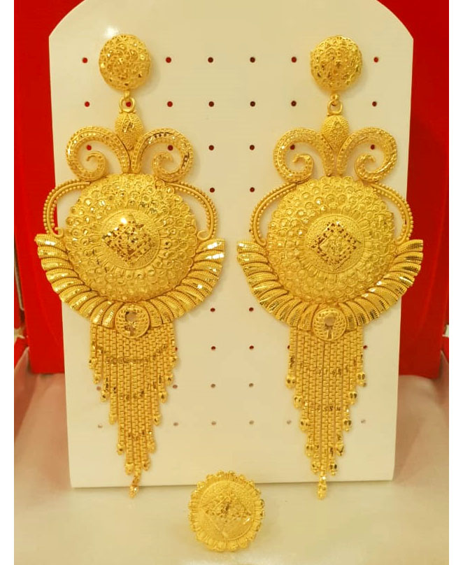 African Attire Gold Earring Long party Set For Women
