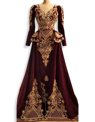 African Premium Moroccan Golden Embroidery Velvet Party Wear Dubai Cape Kaftan