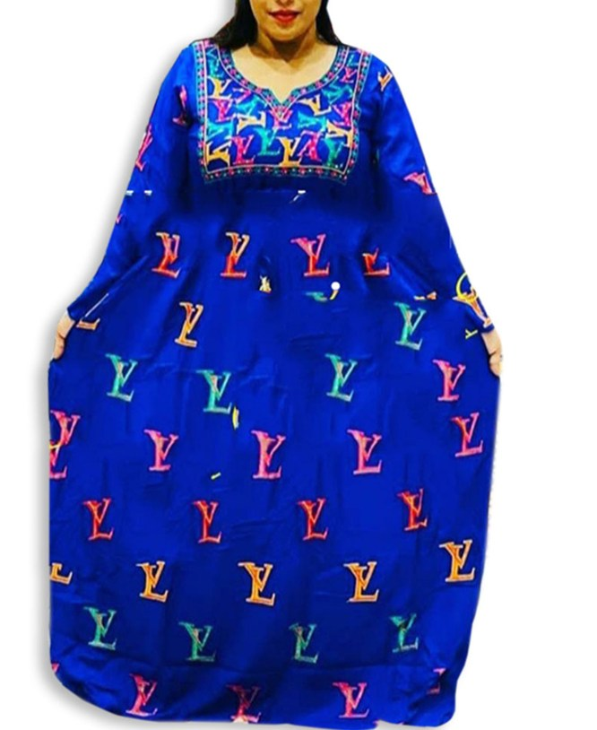African Attire Embroidered Rayon Women Long Royal Blue Dress