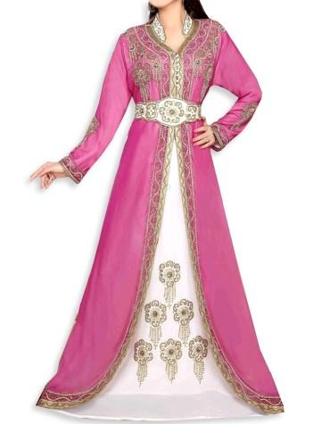 Formal Jacket Style Moroccan Golden Beaded Muslim Fuchsia Dress Dubai Kaftan