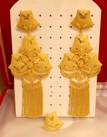 African gold earring long shape wedding party set For Women