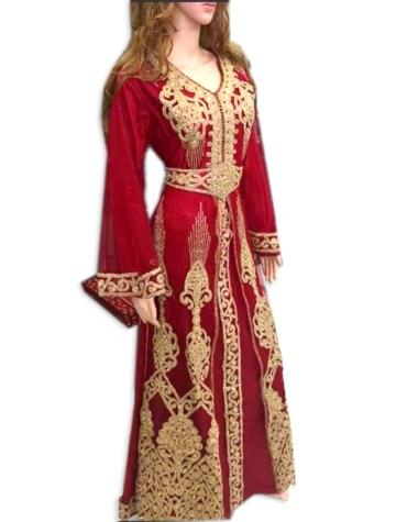 African Elegant Formal Maxi Gown Gold Beaded Fancy Kaftan Dresses for Women