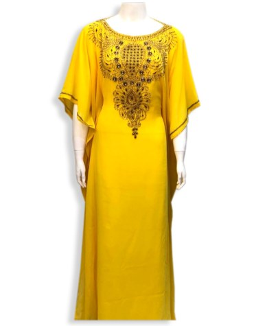 African Attire Abaya Gold work Material Moroccan Party Wear Dubai kaftan
