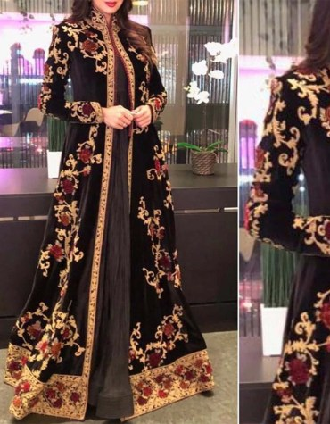 Dubai Kaftan Attire Moroccan Abaya Golden Embroidery Velvet Party Wear