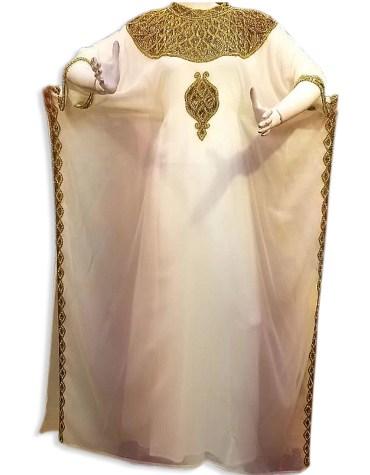African Attire Color Ivory Abaya Gold Work Party Wear Dubai kaftan