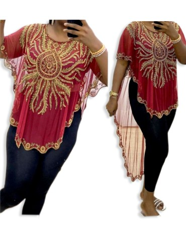 African Attire Golden Beaded Evening Party Wear Tunic Chiffon Dress
