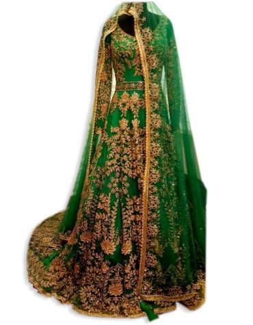 Womens Gold Embroidery Tulle kaftan with Sparkling Stone Dubai Party Wear