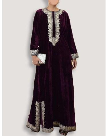 African Attire Velvet Dubai Abaya Morrocan Beaded Formal Dresses For Women