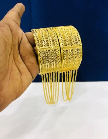 Stylish African Designer Golden Plated Premium Bangle 2 Set