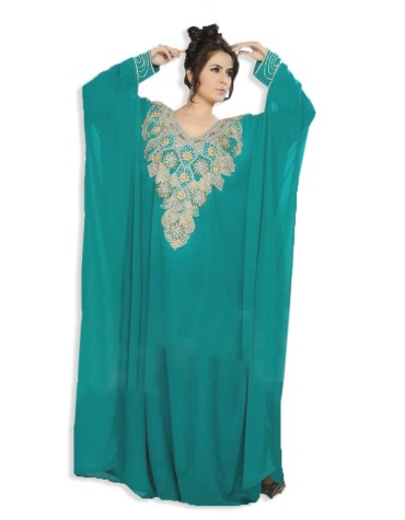 African Attire Jalabiya Long Women Abaya Dubai Chiffon Kaftan- Sea Green