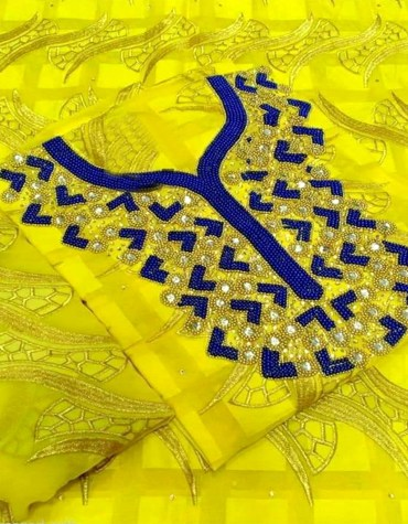 African Attire Embroidery Swiss Voile Cotton Lace Yellow Dress Material