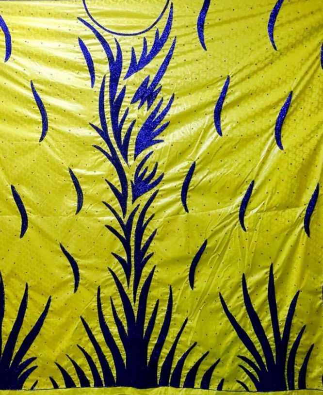 Elegant Designer African Attire Embroidery Bazin Wedding Dress Material for women