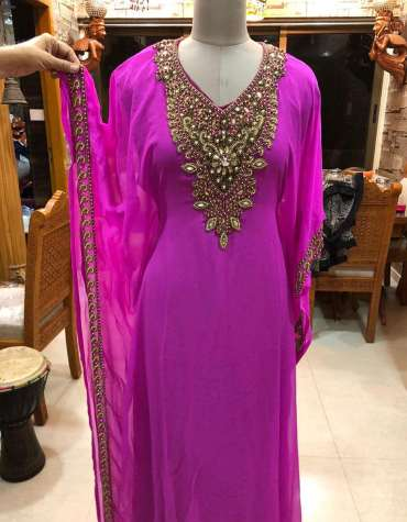 Pink Chiffon Abaya For Evening Party Dubai Dress For Wedding