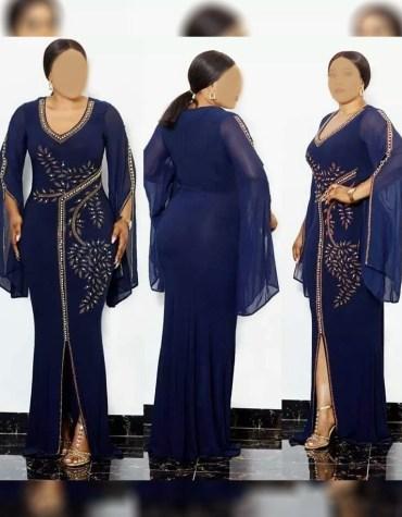 Latest African Dress Crystal Beaded Work on Dress For Women Party Wear Dubai Kaftan