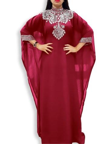 African Attire Designer Collared Silver Beaded Women's Long Sleeve Maxi Dresses Dubai Kaftan