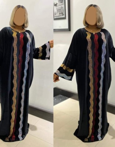 African Attire Evening Abaya for women Velvet Kaftan Elegant Rhinestone work