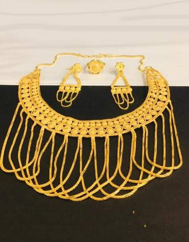 Premium Unique Designer Gold Jewellery Necklac, Earrings & Finger Ring Set For Women